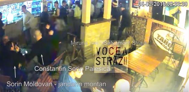 Captura de pe filmarea surprinsa de camerele de supraveghere: prima lovitura pe care agresorul o aplica Mirunei